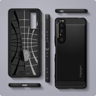 Juodas silikoninis dėklas Spigen ''Rugged Armor'' telefonui Sony XPERIA 1 III
