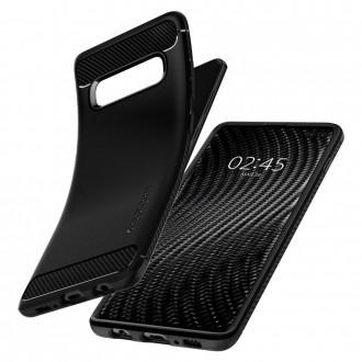 """Matinis juodas dėklas Samsung Galaxy S10 Plus telefonui """"Spigen Rugged Armor"""""""