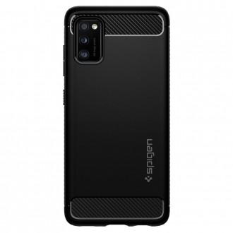 "Juodas dėklas Samsung Galaxy A41 telefonui ""Spigen Rugged Armor"""