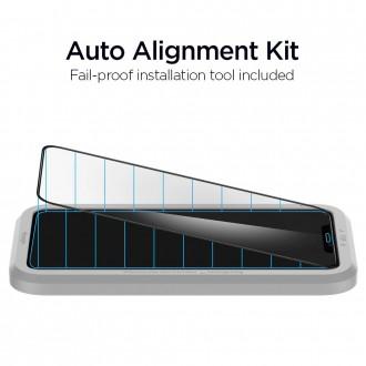 "Juodas apsauginis grūdintas stiklas Apple Iphone XR / 11 telefonui ""Spigen Glass Fc"""