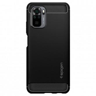 Juodas silikoninis dėklas Spigen ''Rugged Armor'' telefonui XIAOMI REDMI NOTE 10/10S