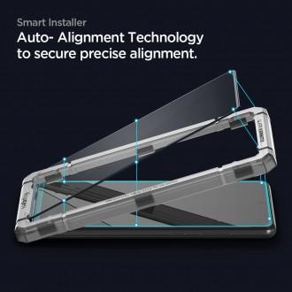 """Juodas apsauginis grūdintas stiklas Samsung Galaxy A72 telefonui """"Spigen Glass Fc"""""""