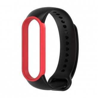 """Juoda-raudona apyrankė laikrodžiui Xiaomi Mi Band 5/6 """"Tech-Protect Smooth"""""""