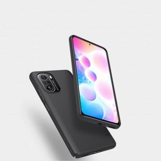"""Juodos spalvos plastikinis dėklas Xiaomi Poco F3/F3 Pro telefonui """"Nillkin Frosted Shield"""""""