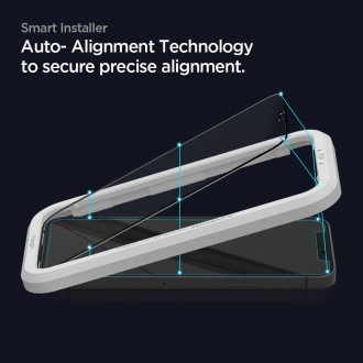 "Apsauginis stiklas ""SPIGEN ALM GLAS FC'' (2-vnt) su montavymo rėmeliu telefonui iPhone 12/12 Pro"