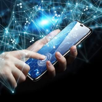 """Juodas apsauginis grūdintas stiklas iPhone 12/12 Pro telefonui """"Hofi Full"""""""