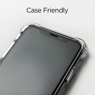 """Juodais apvadais apsauginis grūdintas stiklas """"Spigen Glas.TR"""" Apple Iphone X / XS /11 Pro telefonui"""