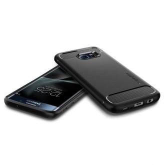 """Juodas dėklas GALAXY S7 EDGE telefonui  """"Spigen Rugged Armor"""""""