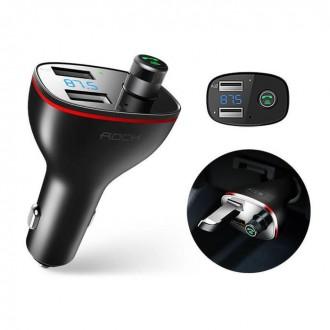 Bluetooth grotuvas / FM bangų moduliatorius (laisvų rankų įranga,įkroviklis) ''ROCK B300 2-PORT USB''