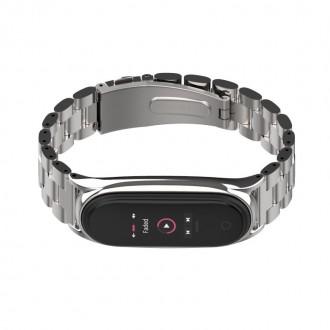 """Sidabrinė apyrankė laikrodžiui Xiaomi Mi Smart Band 5 """"Tech-Protect Stainless"""""""