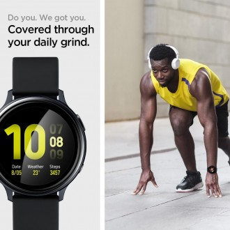 "Juodas hybridinis apsauginis stiklas Samsung Galaxy Watch Active 2 (40MM) ""Spigen Proflex Ez Fit"""