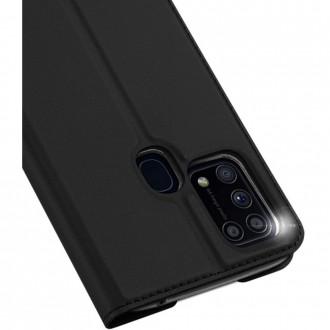 """Juodas atverčiamas dėklas Samsung Galaxy M31 telefonui """"Dux Ducis Skin"""""""