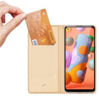 """Rožinis-auksinis atverčiamas dėklas Samsung Galaxy M11 telefonui """"Dux Ducis Skin"""""""