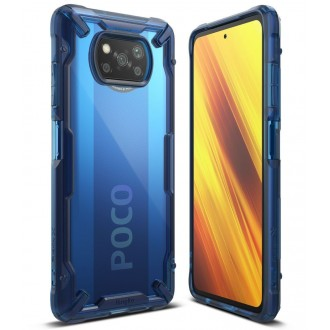 """Skaidrus mėlynais kraštais RINGKE """"Fusion X"""" dėklas telefonui XIAOMI POCO X3 NFC"""