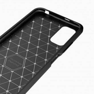 "Juodos spalvos dėklas ""Tech Protect TPU Carbon"" XIAOMI POCO M3 PRO / REDMI NOTE 10 5G telefonui"