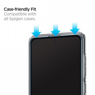 "Juodais apvadais apsauginis grūdintas stiklas ""Spigen Glas.TR"" Samsung Galaxy A51 telefonui"