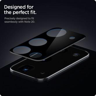 """Juodas apsauginis kameros stikliukas Samsung Galaxy Note 20 """"Spigen Optik.TR"""" (2vnt)"""