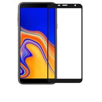 """5D Juodas apsauginis grūdintas stiklas Samsung J6 PLUS telefonui """"Full Glue"""""""