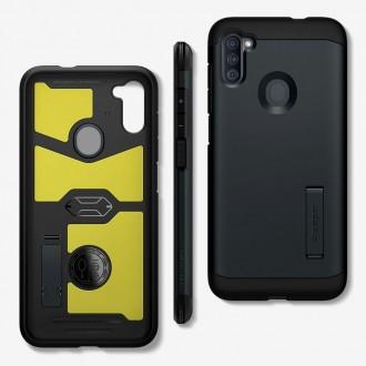 """Juodas dėklas Samsung Galaxy M11 telefonui """"Spigen Tough Armor"""""""