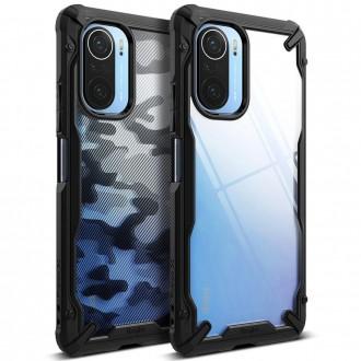 """Skaidrus, juodais tvirtais kraštais dėklas """"RINGKE FUSION X"""" Xiaomi Poco F3 / F3 Pro telefonui"""