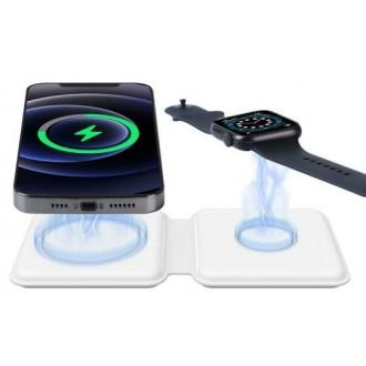 Belaidis įkroviklis 2in1 Smart Phone, Watch baltas