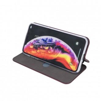 Atverčiamas Dėklas Book Elegance iPhone 13 Pro Max telefonui, bordo spalvos