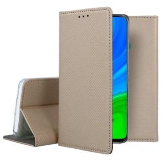 """Auksinės spalvos atverčiamas dėklas Huawei P Smart 2020 telefonui """"Smart Magnet"""""""