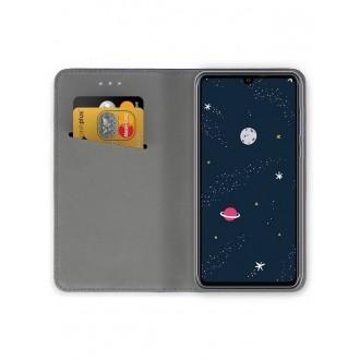 """Auksinės spalvos atverčiamas dėklas Huawei P30 Lite telefonui """"Smart Magnet"""""""