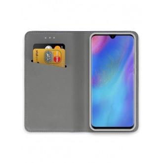 """Auksinės spalvos atverčiamas dėklas Huawei P30 Pro telefonui """"Smart Magnet"""""""