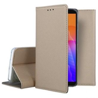 """Auksinės spalvos atverčiamas dėklas Huawei Y5P telefonui """"Smart Magnet"""""""