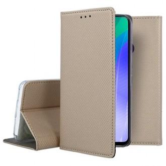 """Auksinės spalvos atverčiamas dėklas Huawei Y6P telefonui """"Smart Magnet"""""""