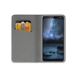 """Auksinės spalvos atverčiamas dėklas Nokia 9 PureView telefonui """"Smart Magnet"""""""