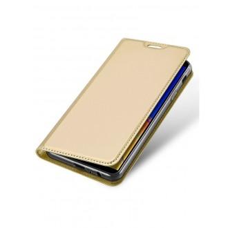 """Auksinės spalvos atverčiamas dėklas Samsun J4 Plus 2018 telefonui """"Dux Ducis Skin"""""""
