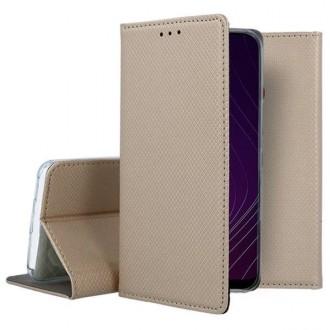"""Auksinės spalvos atverčiamas dėklas Samsung Galaxy A20s telefonui """"Smart Magnet"""""""