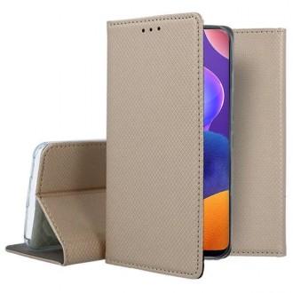 """Auksinės spalvos atverčiamas dėklas Samsung Galaxy A31 telefonui """"Smart Magnet"""""""