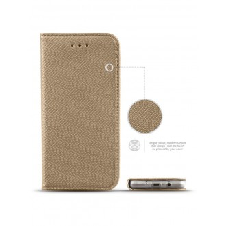 """Auksinės spalvos atverčiamas dėklas Samsung Galaxy J5 2017 telefonui """"Smart Magnet"""" (EUROPOS RINKAI)"""