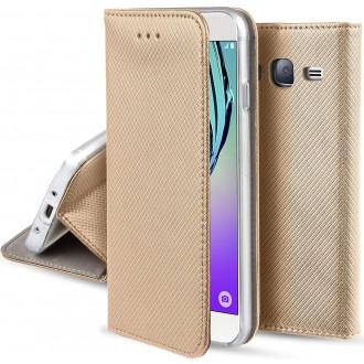 """Auksinės spalvos atverčiamas dėklas Samsung Galaxy J510 J5 2016 telefonui """"Smart Magnet"""""""