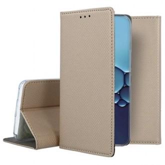 """Auksinis atverčiamas dėklas Huawei P40 telefonui """"Smart Book Magnet"""""""