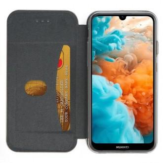 """Auksinis atverčiamas dėklas Huawei Y6 2019 / Y6 Pro 2019 telefonui """"Book Elegance"""""""