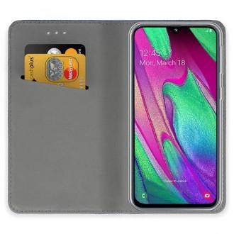 """Auksinis atverčiamas dėklas Samsung Galaxy A405 A40 telefonui """"Magnetic book"""""""