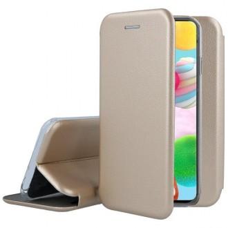 """Auksinis atverčiamas dėklas Samsung Galaxy A41 telefonui """"Book Elegance"""""""