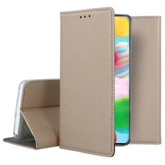 """Auksinis atverčiamas dėklas Samsung Galaxy A41 telefonui """"Smart Magnet"""""""