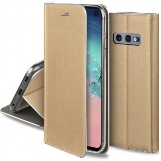 """Auksinis atverčiamas dėklas Samsung Galaxy G970 S10e telefonui """"Smart Venus"""""""