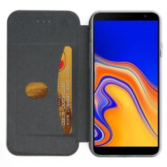 """Auksinis atverčiamas dėklas Samsung Galaxy J415 J4 Plus 2018 telefonui """"Book Elegance"""""""