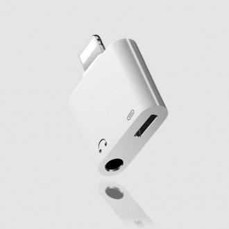 Baltas adapteris ADP15 iš Lightning į Lightning + 3,5mm