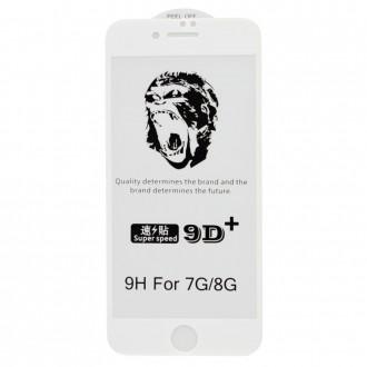 """Baltais apvadais apsauginis grūdintas stiklas Apple iPhone 7 / 8 telefonui """"9D Gorilla """""""