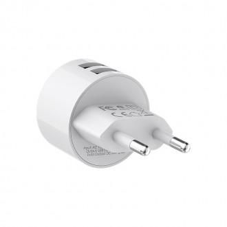 Baltas buitinis įkroviklis Borofone BA23A su dviem USB jungtimis (2.4A)