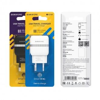 Baltas buitinis įkroviklis Borofone BA25A su dviem USB jungtimis (2.1A)