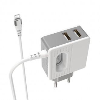 Baltas buitinis įkroviklis Borofone BA34 su dviem USB jungtimis + Lightning (2.4A)
