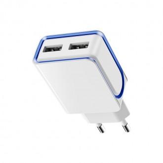 Baltas buitinis įkroviklis Borofone BA35 su dviem USB jungtimis (2.1A)